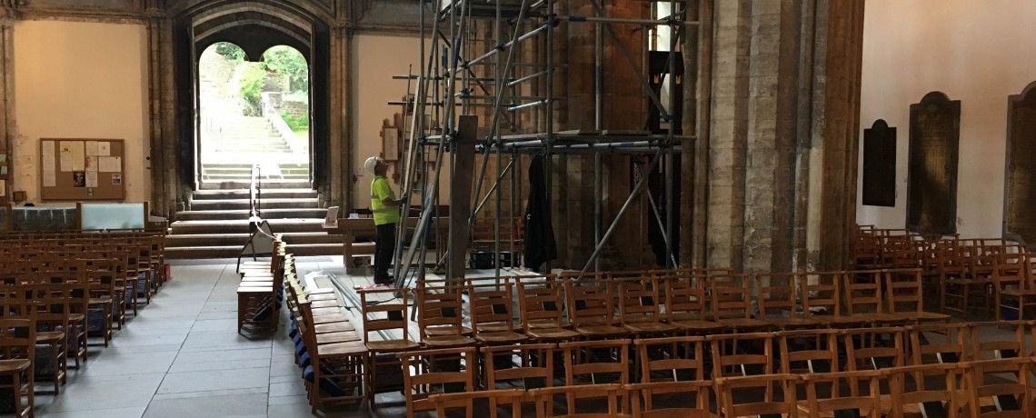Clerestory Shaft Pilot Project has started in the Nave
