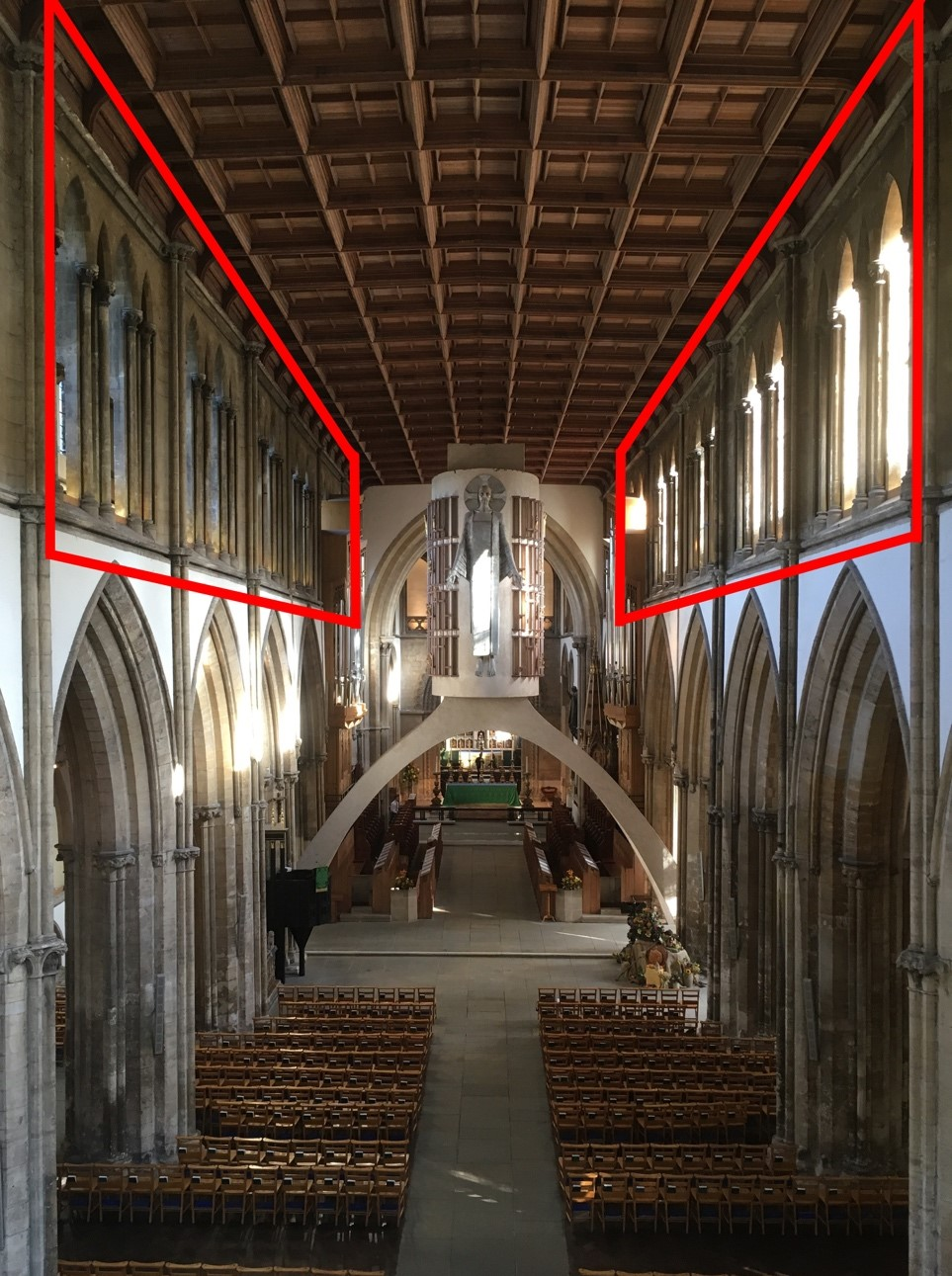 The location of the clerestory shafts